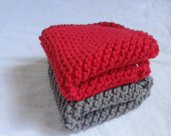 2 Dish Cloths - Gray and Red - Cotton - 3 Sizes Available - Hand Knit - Custom Made