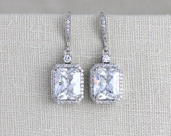 Crystal Bridal earrings, Rose gold earrings, Bridal jewelry, Emerald cut earrings, Crystal earrings, Wedding jewelry, Bridesmaid earrings