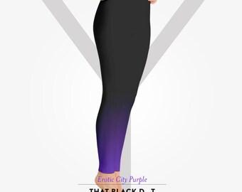 Erotic City Purple Ombré Yoga Pants - That Black Dot Ombré Legs - Erotic City Purple Yoga Legging Tights
