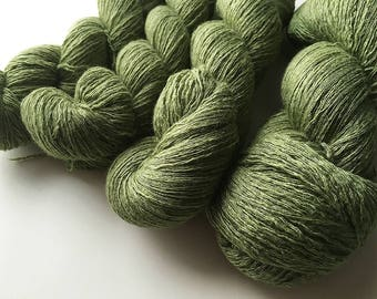 Reclaimed Lace Yarn - Merino/Rayon/Angora/Cashmere - Asparagus Green