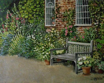 Original Oil Painting In The Garden stretched canvas 18 X 24 inchesTop selling artist