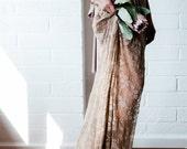 Parisian Flea Market Lace with short slip Octopus Infinity Wrap Dress~ Custom Combine Fabrics- Castle Hill Hazelnut Coco with Beige Lace