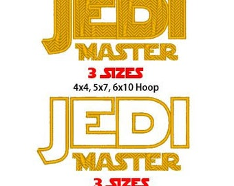 Jedi Master, 2 Designs, 3 sizes each, Machine Embroidery Design, Instant Download, PES format and more format available by request