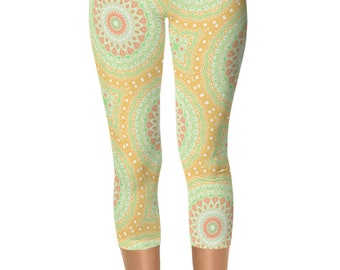 Summer Capris, Green and Yellow Spring Leggings, Abstract Watermelon Yoga Pants for Women