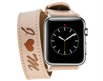 Apple Watch 42 mm Double Tour Milky Coffee Leather Band, Personalized Gift Band
