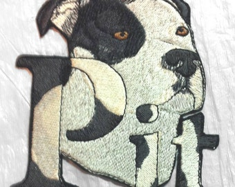 Beautiful Pit Bull Embroidered applique Patch - 2 Sizes- Made in USA