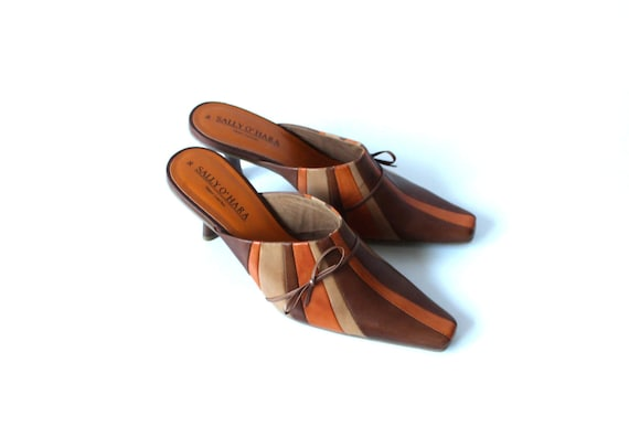 Shoes Summer US 3 Heel Shoes Beige UK Kitten Leather EUR 5 Women 6 36 Striped Brown Mules Orange vqxUfzC