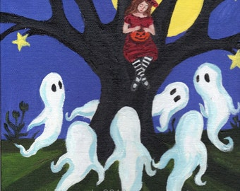 Halloween ghost art 5 x 7 matte print red witch spooky tree full moon gothic spooky cute weird haunted art autumn pagan decor