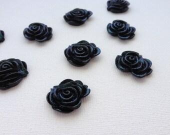 10 Black Glitter Rose Resin Cabochons 22mm
