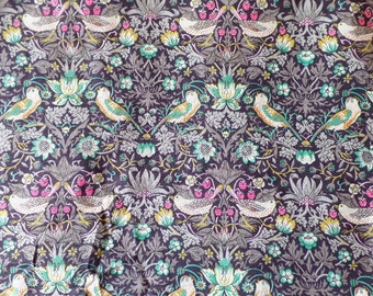 Liberty Art Fabrics William Morris Tana Lawn Cotton Strawberry Thief Floral and Birds Print K Colorway 03635061K