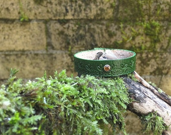 Green leather diffuser bracelet - hand tooled floral design with orange gem - personal diffuser bracelet ready to use with essential oils