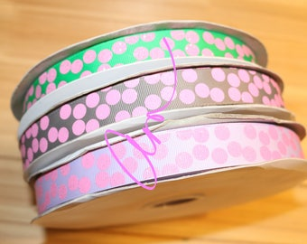 """7/8"""" grosgrain ribbon, 3 yards, Hot Pink Glitter Silly Dots, USDR"""