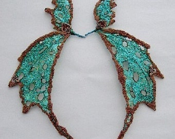 OOAK Fairy Wings-Iridescent-Green and Copper- Custom orders for similar type of wings.