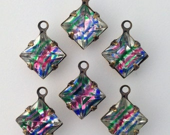 Vintage Clear with Pastel Stripes Square Glass Stones 1 Loop Brass Ox Setting 8mm (6) squ017UU