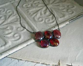 Red Iridescent Nugget Bib Necklace, Stained Glass Jewelry