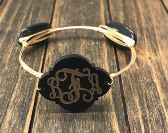 Etched Monogram Bangle