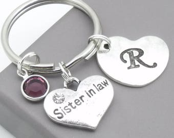 Sister in law heart initial keyring | sister in law keychain | personalised sister in law keyring | sister in law gift | letter | birthstone