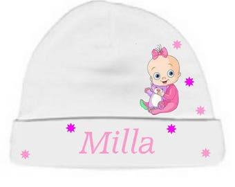 Personalized with name White little girl baby bonnet
