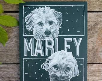 Chalk portraits of Marley!