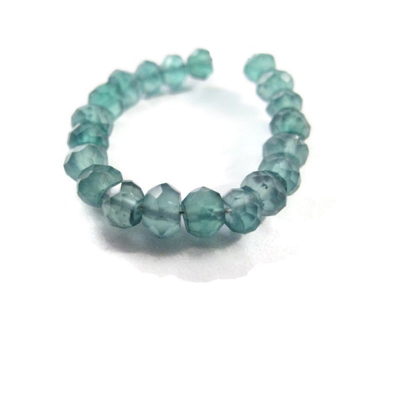 Green Onyx Rondelles, Faceted 3mm - 3.2mm Natural Gemstones, 20 Count of Little Green Gemstone Beads for Making Jewelry (L-Go3)