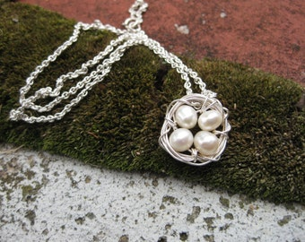 Mother's Day Bird Nest Necklace: Four Bird Nest Necklace, Fresh Water Pearls Handwrapped with Sterling Silver