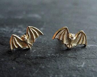Halloween Earrings, Bat Stud Earrings, Golden Brass Earrings, Halloween Jewelry, Gothic Studs, Spooky Jewelry, Hypoallergenic Studs Earrings