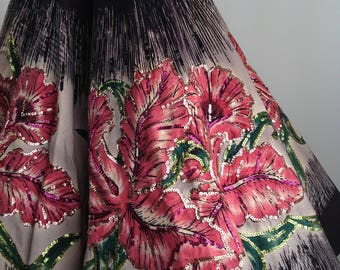 "1950's Mexican Full Circle Skirt / ORCHID BORDER PRINT / Hand Painted / Sequins / 25-1/2"" inch Waist"