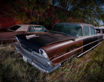 Old Lincoln Car, Vintage Lincoln, Classic Car, Rural Landscape, Night Photo, Wall Art, Farm Art, Rural America, Night Sky, North Dakota Farm
