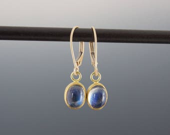 Blue Moonstone Cabochon Earrings - Bezel Set Gold and Silver - Small Oval Gemstone Dangles