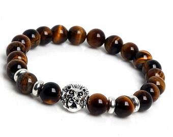 Tiger Eye Bracelet, Mens Bracelet, Mens Tiger Bracelet, 10mm Gemstone Bracelet, Mens Beaded Bracelet, Lion Bracelet, Good Luck Bracelet Mens