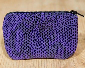 Purple snakeskin effect leather wallet