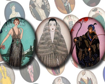30x40 mm FRENCH FASHION ILLUSTRATIONS  No. 2 Digital Printable Ovals Collage Sheet for Cameos Pendants Magnets Cab Settings..Georges Barbier