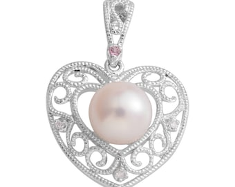 Delicate Freshwater Pearl, Pink Tourmaline, Diamond Accent Sterling Silver Pendant without Chain