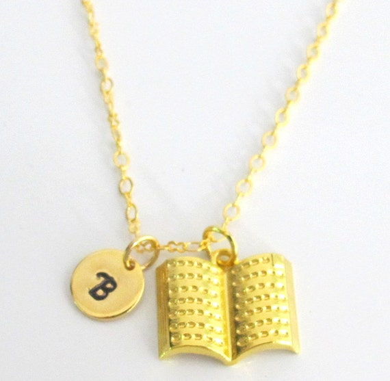 Gold Book Necklace, Book necklace Necklace,Initial Book Necklace- Open Book  Necklace - Initial Necklace - Party Favors Free Shipping USA