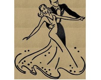 Ballroom Dancers - Embroidery Design Embroidery DESIGN FILE  - Instant download - Retro - 2 sizes - Dst Hus Jef Pes Exp Vp3 formats