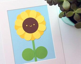Happy Sunflower Kawaii Paper Cut Art