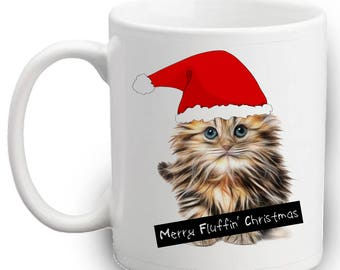 Merry Fluffin' Christmas Mug | Cute Kitten In Santa Hat | Xmas Gifts