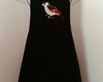 Black Apron with Sequin Bird