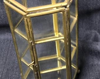 Vintage Shelf Brass and Glass Miniatures Display Shelf