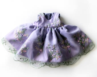 Lilac Floral Spring Baby Girl Party Dress with Embroidered Organza - Sz 6 to 12 months - Handmade Ready to Ship