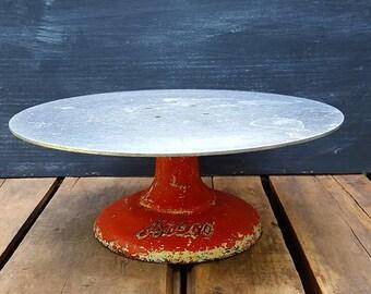 Vintage Ateco Decorating Cake Stand, Cast Iron Rotating Cake Plate