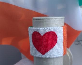 "Slip-on embroidered ""Irish Heart"" wrist cuff / bracelet - embroidery wristband soft cuff jewelry needlepoint cotton adjustable"
