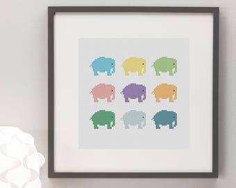 Little Elephants Colourful Cross Stitch Pattern