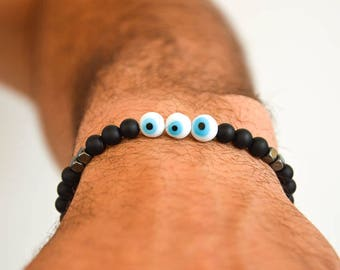 Evil Eye Bracelet Men, Protection Bracelet Men, Evil Eye Jewelry, Evil Eye Charm, Made in Greece.