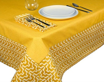Lemon Yellow Geometric Tablecloth / The Lisa Collection