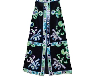 Emilio Pucci Long Velvet Maxi Skirt Black Navy Blue Velveteen Vintage Mod 60s Retro Designer Saks Fifth Avenue
