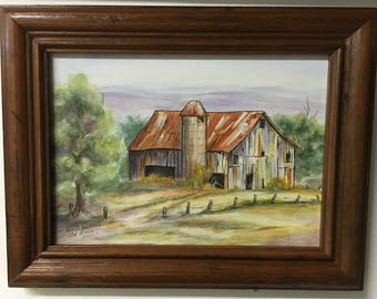 Old Barn original watercolor painting, framed ready to hang.