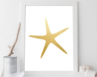 Gold Starfish, Starfish Print, Beach House Decor, Starfish Wall Art, Nautical Print, Gold Print, Beach Decor, Ocean Art, Printable Art