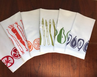 Eat the Rainbow Set of Six printed napkins in green, lime green, dark orange, orange, red and purple on white cotton napkins