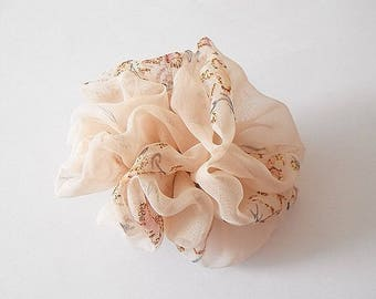 Flower printed shiny salmon polyester veil
